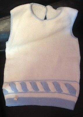 Ladies Vintage Cream/white & Baby Blue Cable Knit Sleeveless Sweater NOS W TAG