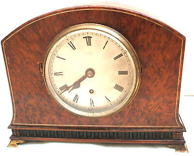 Empire Inlaid Burr Wood Case 8-day Platform Escapement Timepiece Mantel Clock GC
