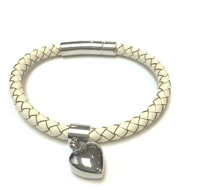 "Cremation Ashes Jewellery Keepsake Bracelet Urn ""White Strapped Heart Charm"""