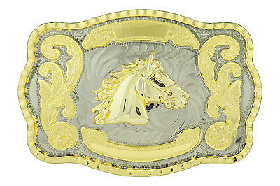 Horse Head Western Cowboy Rodeo Gold Large Belt Buckle