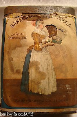 Vintage WALTER BAKER & CO.*Breakfast Cocoa*Advertising Tin*Rare*Old*MADE IN USA