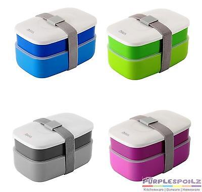 NEW BENTO STACKABLE LUNCHBOX Lunch Box Container BLUE GREEN GREY PINK