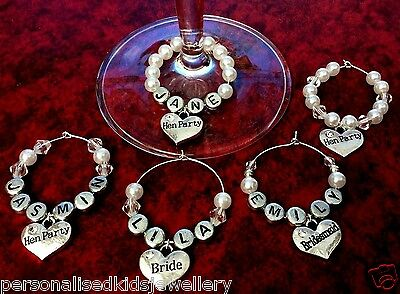 HENS NIGHT / PARTY WINE GLASS CHARM. * ANY NAME* Wedding glass  BRIDE, GROOM ETC