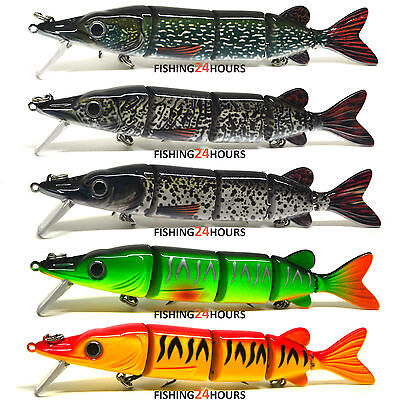 "Bass Pike Fishing Bait Lure Swimbait Life-like Baby Pike Jerkbait Crank 6"" NEW"
