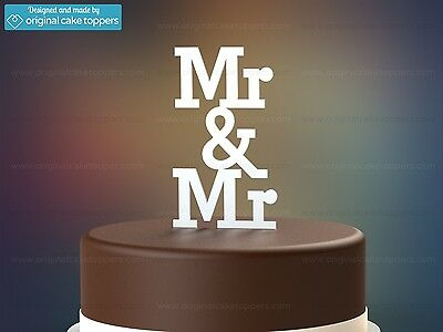 """Mr & Mr"" - White - Gay Wedding Cake Topper - Made by OriginalCakeToppers"