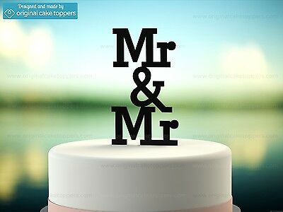 """Mr & Mr"" - Black - Gay Wedding Cake Topper - Made by OriginalCakeToppers"