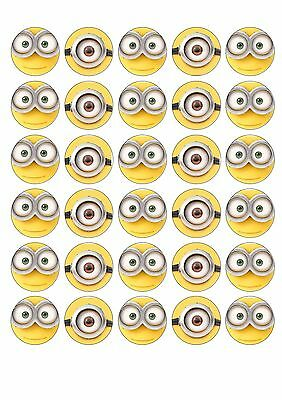 30 X Minion Faces Edible Wafer Cupcake Toppers