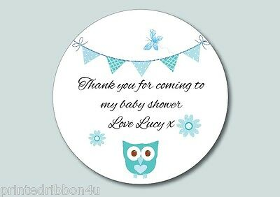 15 Round Personalised Butterfly Owl & Bunting Baby Shower Party Sticker Labels