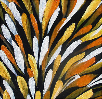 "PRINT ON CANVAS aboriginal art painting jane crawford bush petals 39"" x 39"""