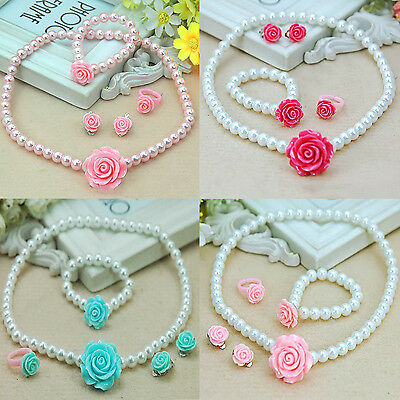 Be Children Baby Girl Flowers Imitation Pearls Necklace&Bracelet&Ear Clips&Rings