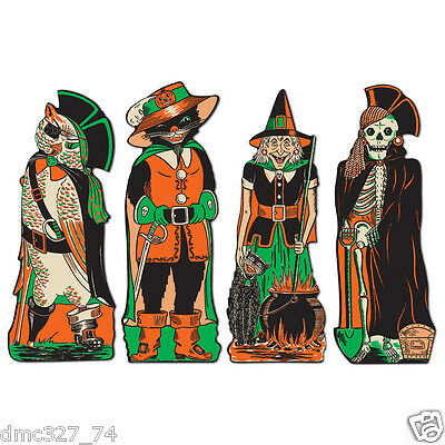 4 HALLOWEEN Party Decoration Character CUTOUTS Vintage Beistle 1950 Reproduction