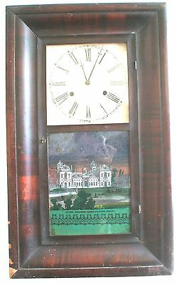 Jerome Clock Co American Mahogany 2 Weights Driven Striking Wall Clock c19th