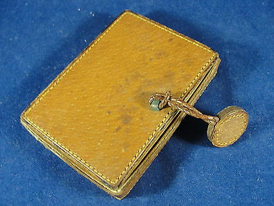 Vintage Antique Leather Mirrored Make Up Compact Made In France
