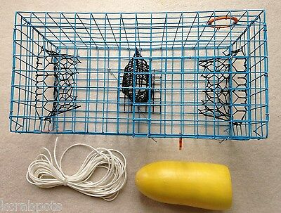 PVC Blue Commercial Grade Crab Pot / Trap With 50 Foot Line & Yellow 5x11 Float