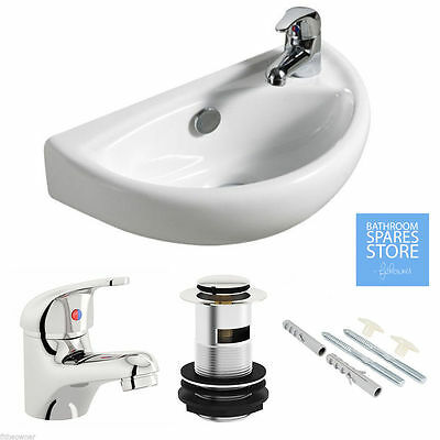 Small Compact Bathroom Cloakroom Basin Sink Wall Hung 395 + Tap Waste