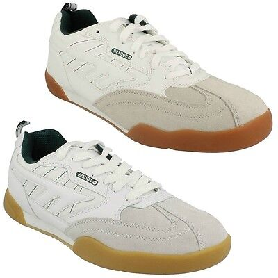 Mens Hi Tec Leather Suede Lace Up Squash Classic Shoes Indoor Sports Trainers