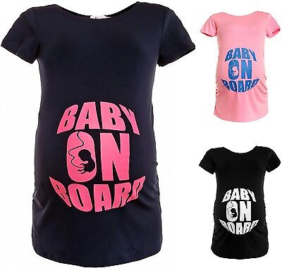 Happy Mama. Women's Maternity *Baby on Board* Funny Print Top T-shirt. 429p