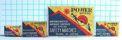 Vintage 4 Power Brand Safety Match Box Labels Made in Japan 3 Different Sizes