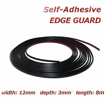 8m Black Edge Guard 12mm Self-Adhesive Moulding Strip Decorative Protective Trim