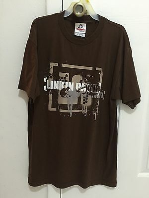 Mens LINKIN PARK Metal/Alternative Rock Band Logo Brown T-Shirt Adult Size M