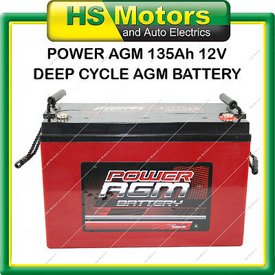 POWER AGM 135 Ah Amp Hour Deep Cycle Battery VRLA Sealed Camper Caravan 4WD