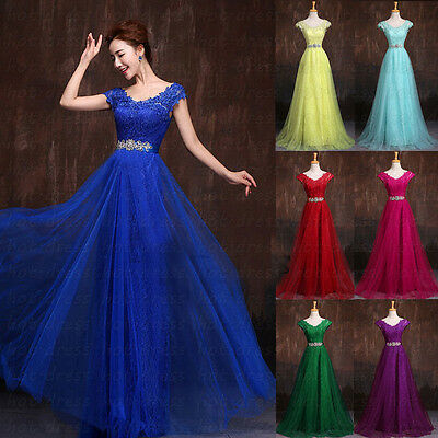 Long Lace Appliques Formal Prom Party Ball Gowns Evening Bridesmaid Dresses 6-20