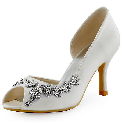 Wedding Gown High Heel Pumps Peep Toe D'Orsay Rhinestone Satin Bridal Prom Shoes