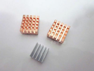 One Set 3pcs 2 Copper 1 Aluminum Heatsink kit With Thermal Pad For Raspberry Pi