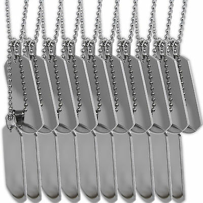 Stainless Steel Army Dog Tags Necklaces Lot of 10 sets for jewelers engravers