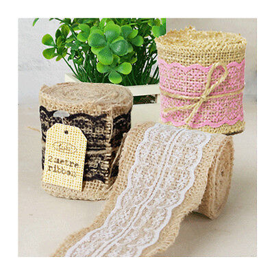 Hessian & Lace Ribbon Roll 6cm Wide x 2mL Natural Vintage Rustic Burlap