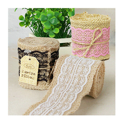 Rustic Burlap Hessian & Lace Ribbon Roll 6cm Wide x 2mL Natural Vintage