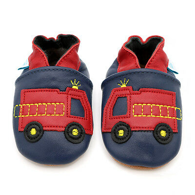 Dotty Fish Soft Leather Baby Toddler Pram Shoes Fire Engine 0-6 Month - 4-5 Year