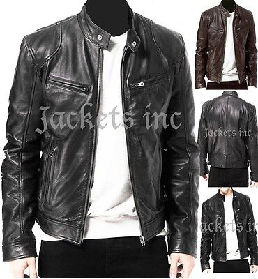 Mens Black & Brown Real Leather Jacket Vintage Slim Fit Retro Genuine New Xs-3Xl