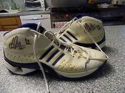 Hilton Armstrong Atlanta Hawks Hornet Signed Basketball Shoes JSA!!