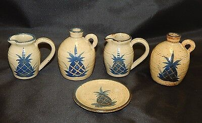 Mahon Pottery Lot of 5 Items Small Jugs Pitchers and Coaster Pineapple Pattern