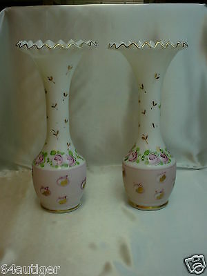"""Pair-11"""" Hand Painted Vases - Consolidated/Charlton """"Pink Mist & Roses"""" c:1950's"""
