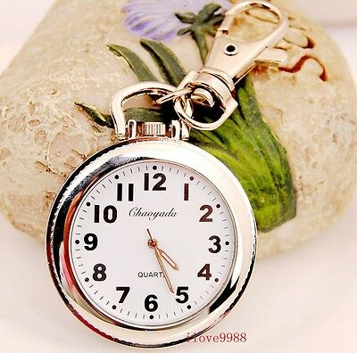 New Big Round easy to read time Key Ring pocket Watch quartz UKZ88