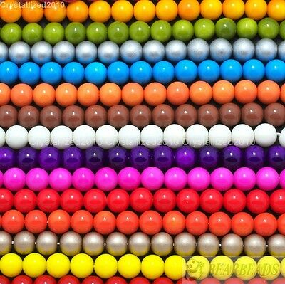 Czech Opaque Coated Glass Pearl Round Beads 4mm 6mm 8mm 10mm 12mm 14mm 16mm 16''