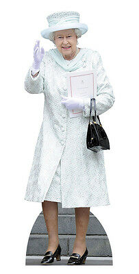 Queen Elizabeth Ii In White Coat Lifesize Cardboard Cutout / Stand Up / Standee