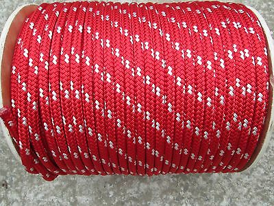 "5/16"" X 100' Sail,Halyard Line, Jibsheets, Boat Rope double braid, Red/ white tr"