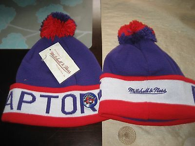 d15d23042c81e1 MENS TORONTO RAPTORS Mitchell & Ness Winter BEANIE HAT WITH PIN BUTTON NWT