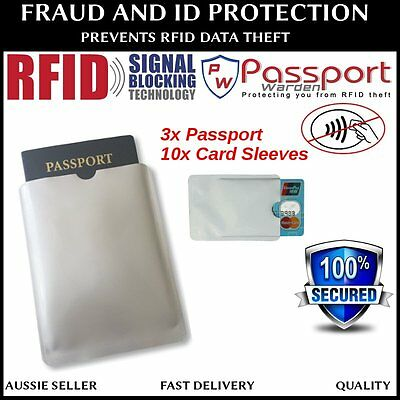 3x Passport 10x RFID Blocking ID Credit Card Protector Sleeve holder - AU STOCK