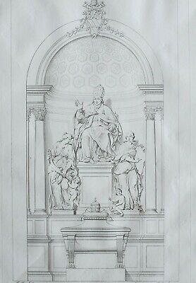 1834 Large Architectural Print Basilica Lateran Rome ~ Monument Clemente Xii