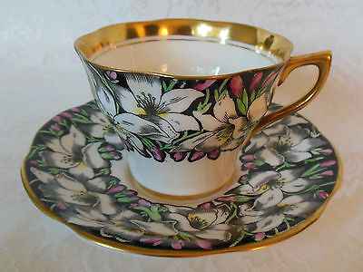 Rosina Bone China Tea Cup & Saucer Set Black & Heavy Gold 4860 Made In England