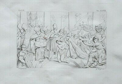 1834 Large Architectural Print Basilica Lateran Rome ~ Baptism Of Constantine