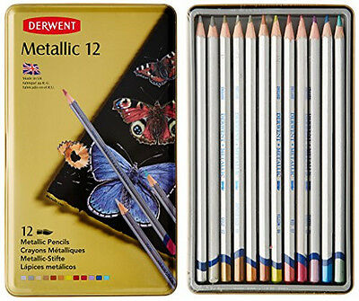 Derwent - Metallic Watersoluble Pencils, 3.4mm Core, Metal Tin, 12 Count