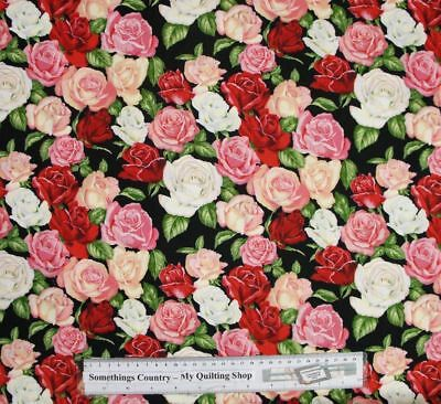 Patchwork Quilting Sewing Fabric MIXED ROSES ALLOVER Cotton FQ 50x55cm New