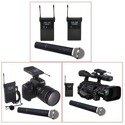 Pro 2.4GHZ 3.5mm DSLR Camera Wireless Stereo Microphone with Handheld Microphone