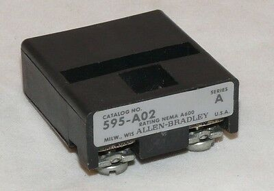 Used  Allen Bradley 595A02 1NO Auxiliary  Contact for Overload Relay Size 5