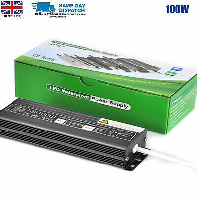 100W DC12v Waterproof Transformer Power Supply Adapter LED Lights 8.33A UK Stock